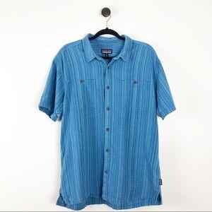 Patagonia Mens Back Step Short Sleeve Shirt Blue